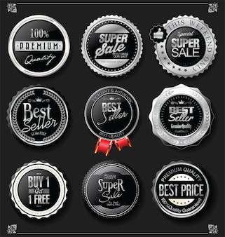 Sammlung von silbernen und schwarzen abzeichen und etiketten