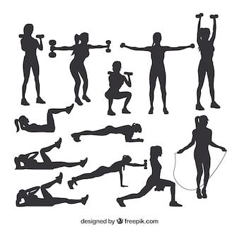 Sammlung von silhouetten, die sport treiben