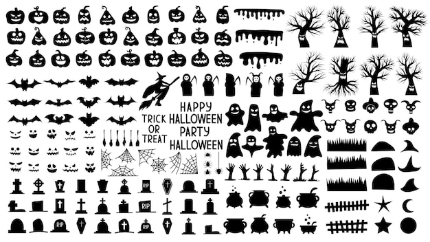 Sammlung von silhouetten für halloween mit gruseligen kürbissen und gruseligen bäumen und geistern. set von schwarz-weiß-objekten für die nacht des halloween-urlaubs. vektor-illustration.