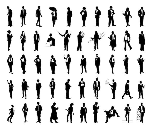 Sammlung von silhouetten von geschäftsleuten