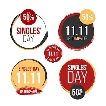 Sammlung von singles day labels