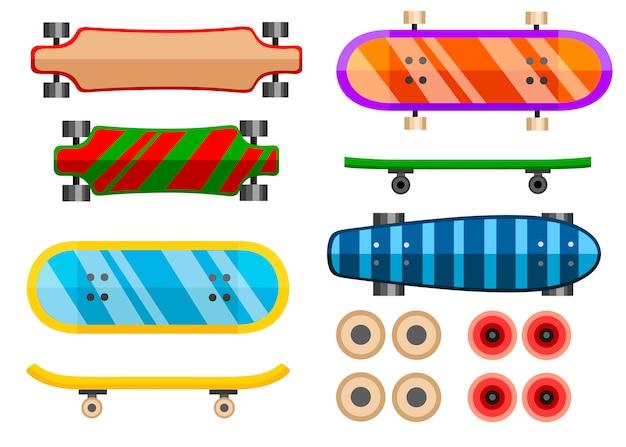 Sammlung von skateboard. symbol. skateboard verschiedene seiten illustration. illustration auf weißem hintergrund