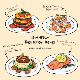 Sammlung von skizzen köstliches menü
