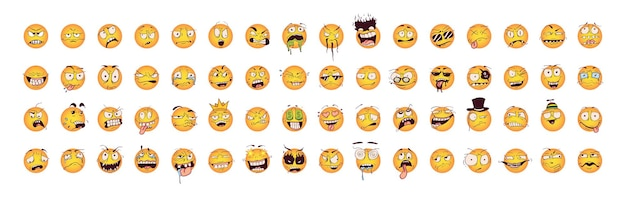 Sammlung von smileys mit verrückten emotionen
