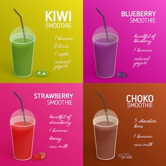 Sammlung von smoothie- oder cocktailrezepten mit bunten getränken aus tropischen früchten, beeren, schokolade und platz für text. getränke in plastikgläsern mit deckel und strohhalm. illustration.