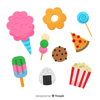 Sammlung von snacks in flachen stil