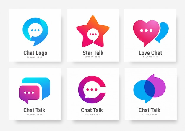 Sammlung von social chat talk logo vorlagen