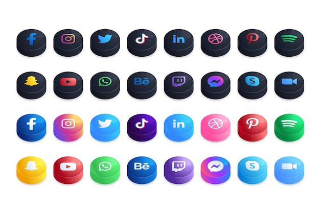 Sammlung von social media app-symbolen