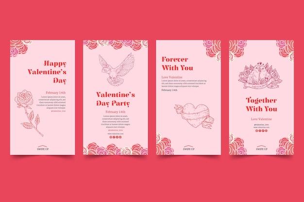 Sammlung von social media-geschichten zum valentinstag