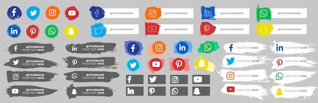 Sammlung von social-media-symbolen mit strichen
