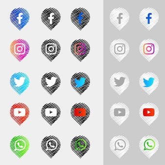 Sammlung von social-media-symbolen