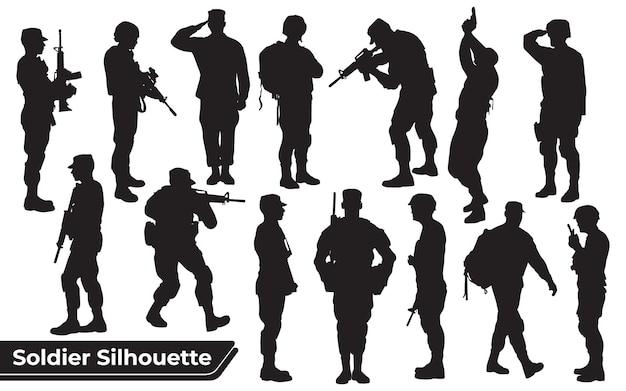 Sammlung von soldaten mit waffensilhouetten in verschiedenen posen