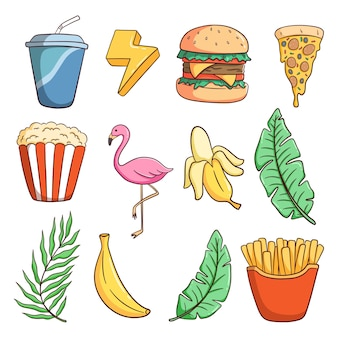 Sammlung von sommerelementen mit farbigem doodle-stil