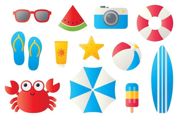 Sammlung von sommersymbolen isoliert