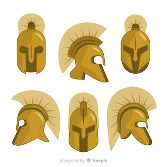 Sammlung von spartanischen helmen