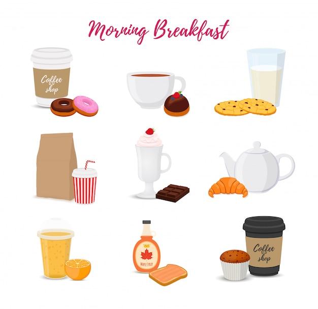 Sammlung von speisen, getränken zum frühstück