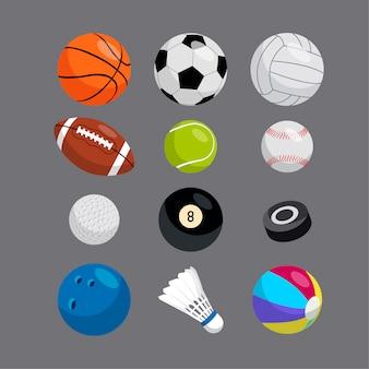 Sammlung von sportbällen.