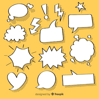 Sammlung von sprechblasen für comics