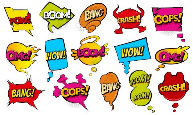 Sammlung von sprechblasen im comic-stil. lustige designartikelillustration. ikonen im pop-art-stil. comic-formulierung soundeffekt