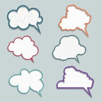 Sammlung von sprechblasen mit tupfen-designs