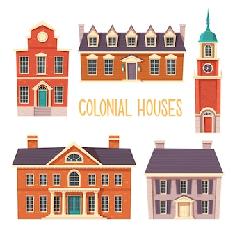 Sammlung von städtischen kolonialgebäuden