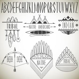 Sammlung von stammes-design-elemente und alphabet vektor-illustration