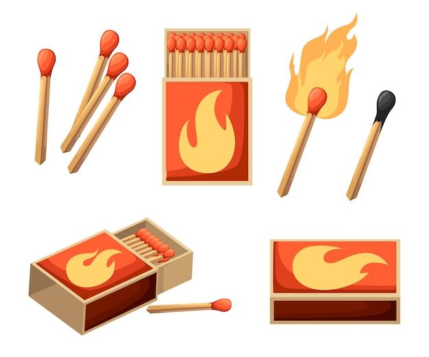 Sammlung von streichhölzern. brennendes streichholz mit feuer, geöffnete streichholzschachtel, verbranntes streichholz. stil. illustration auf weißem hintergrund