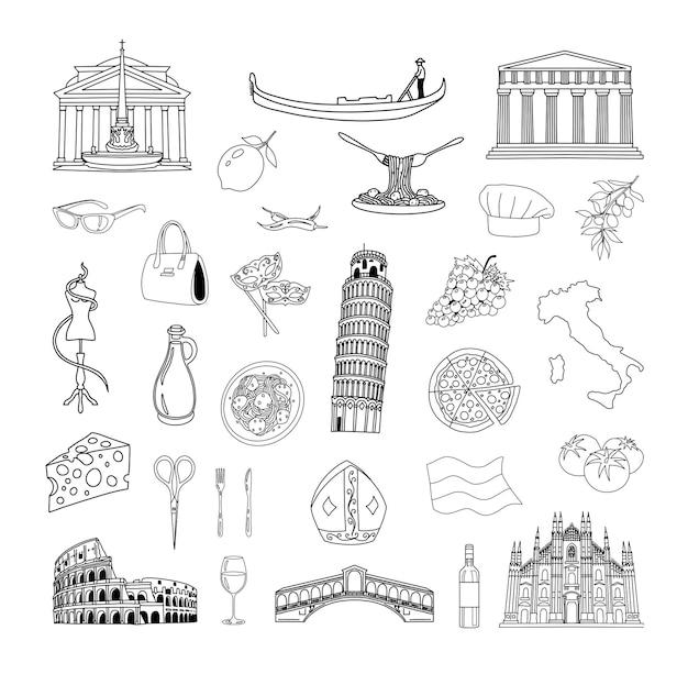 Sammlung von strichzeichnungen von italien