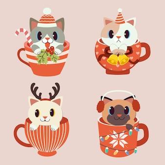 Sammlung von süßen katze in der tasse in weihnachtsthema set.rn, ohrenschützer. die katze im flachen vektor.