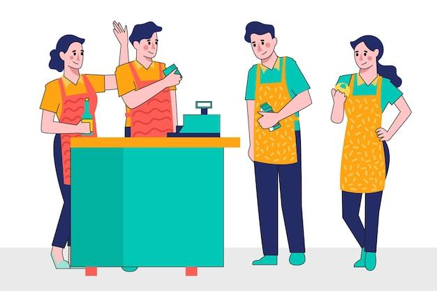 Sammlung von supermarktarbeitern