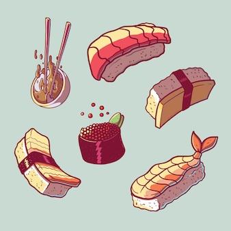 Sammlung von sushi-illustrationen