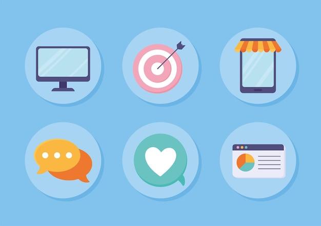 Sammlung von symbolen für digitales marketing