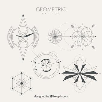 Sammlung von tätowierungen mit geometrischen formen