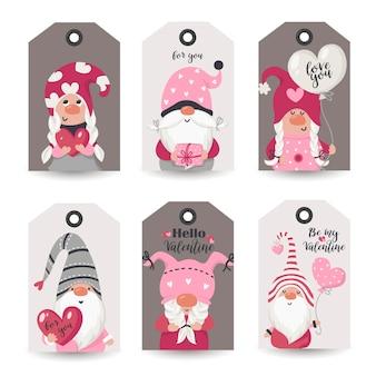 Sammlung von tags mit valentine gnomes und urlaubswünschen. druckbare kartenvorlagen.