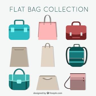 Sammlung von taschen in flaches design