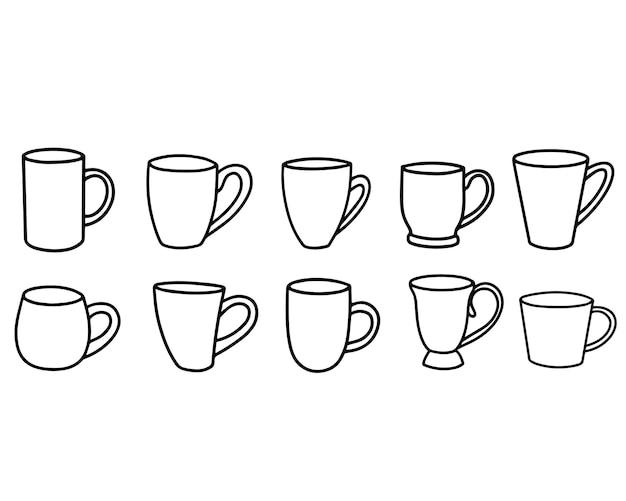 Sammlung von tassen im doodle-stil