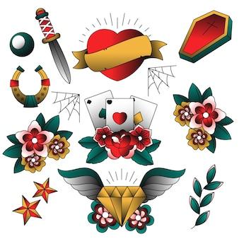 Sammlung von tattoo-stilelementen