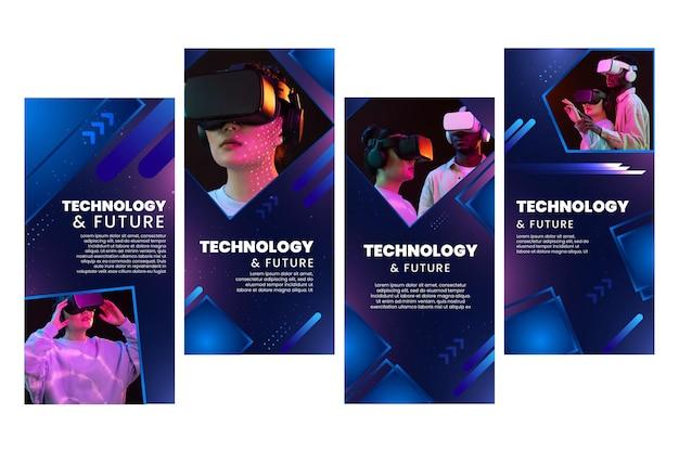 Sammlung von technologie- und zukünftigen instagram-geschichten