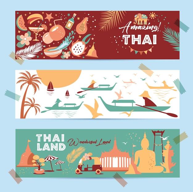 Sammlung von thailand-symbolen in fahnen. poster. postkarte in trendfarbe. reiseillustration. web-banner der reise in unterschiedlicher zusammensetzung.