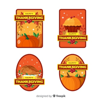 Sammlung von thanksgiving-label in flaches design