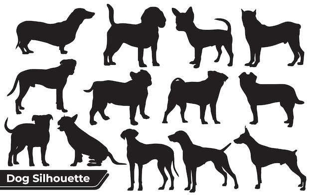 Sammlung von tieren verschiedener arten von hunden in verschiedenen positionen