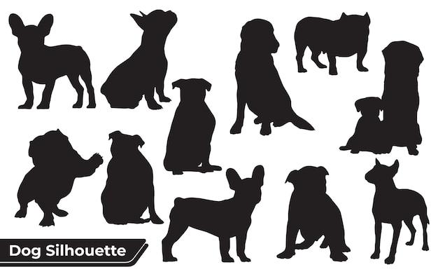 Sammlung von tierhunden in verschiedenen positionen
