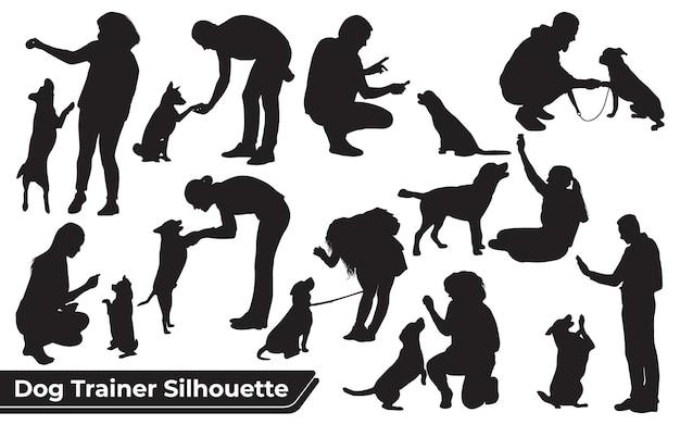 Sammlung von tierhundetrainern in verschiedenen positionen