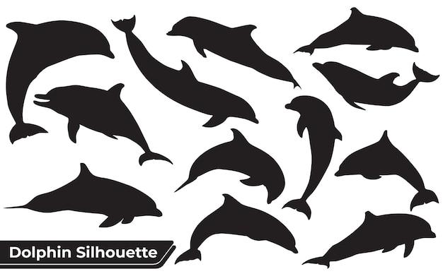 Sammlung von tierischen delfinen in verschiedenen positionen