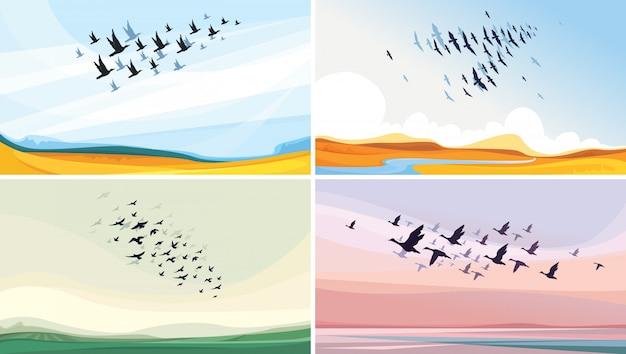 Sammlung von tierlandschaften. zugvögel am himmel.