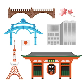 Sammlung von tokio-sehenswürdigkeiten