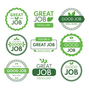 Sammlung von tollen job- und guten job-aufklebern