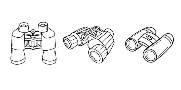 Sammlung von touristischen ferngläsern. fernsichtgerät, optisches bildverstärkergerät.