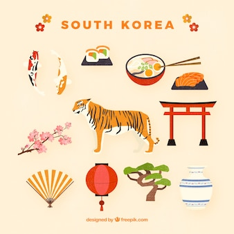 Sammlung von traditionellen südkoreanischen Objekten