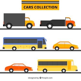 Sammlung von transporten in flaches design